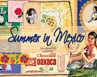 Digital Vintage Retro Girls, Photographs, Mexican Spanish Ephemera,  Junk Journal Printable Summer Kit, Mexico Stamps, French Label Tag Card