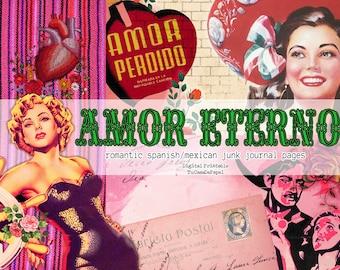Romantic Ephemera, Classic Love Digital Images, Valentine Junk Journal Printable Kit, Vintage Art Floral Pages, Mexico Scrapbook, Collage