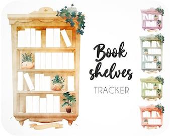 15 Book tracker printables • Reading log bookshelf for reading journal • Bookish gift insert