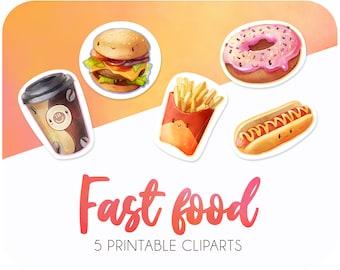 5 Fast food cartoon sticker printables • Baby donut clipart • Cute hamburger sticker • Hot dog clipart
