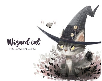 Halloween felt witch hat clipart • Witch cat clipart • Botanical watercolor  • Cute wizard clipart