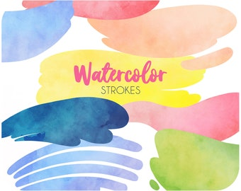 60 Bold watercolor brush stroke clipart set • Digital watercolor stains • Printable stickers and Goodnotes clipart