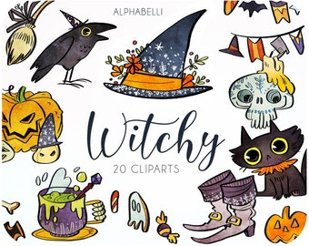 20 Witch clipart set • Halloween graphics & digital stickers • Watercolor witches hat • Cute Raven clipart