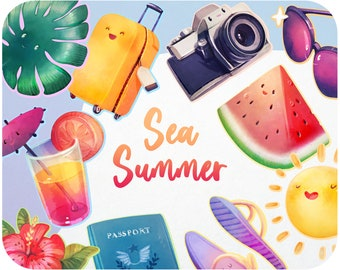20 Watercolor summer clipart set • Cute watermelon clipart + beach creations and travel printable stickers