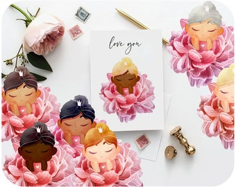 27 Custom girl clipart • Peony png • Watercolor peony clipart for baby shower • Fairy princess printable