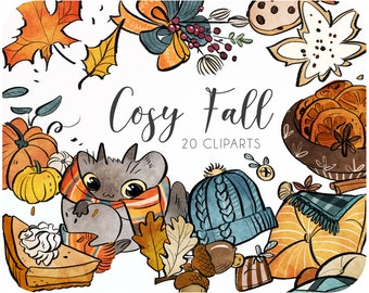 20 Fall watercolor clipart set • Fall pillows and pumpkin fall clipart • Autumn sticker for baby shower invitations