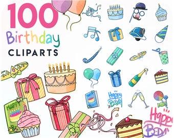 100 Birthday sticker kit • Digital stickers & party cliparts • Happy birthday printable invitation • boy and girl invite cards