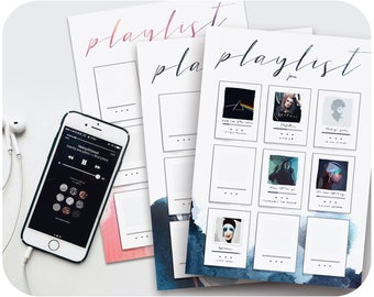 Playlist tracker • Bujo printables for your favourite music & songs • Watercolor bullet journal