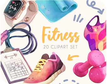 20 Fitness clipart stickers • Workout clipart and sport printables • Watercolor health clipart