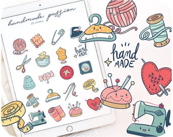 20 Sewing box printable stickers • Minimal laundry icons for top sellers packaging • Handmade business cliparts