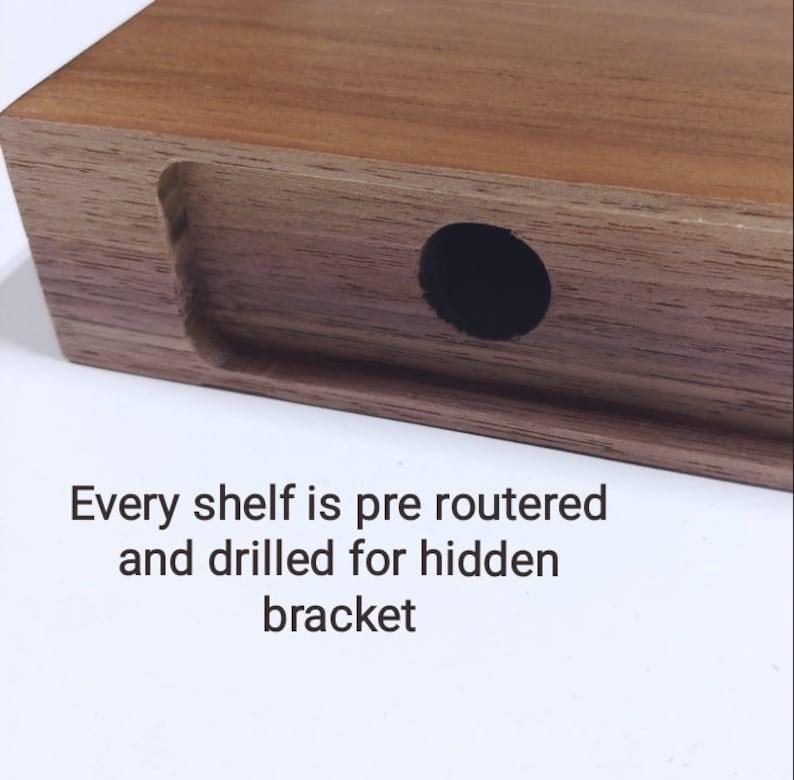 Floating Shelf satin finish solid wood floating shelf with heavy Duty EZ Shelf Bracket. Weathered Oak Band Saw Texture