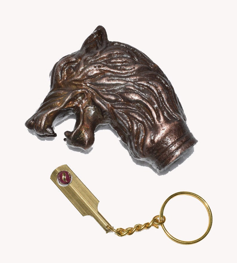 Solid Brass Brown Wooden Walking Cane Stick Wolf Head Handle Antique Style Gift