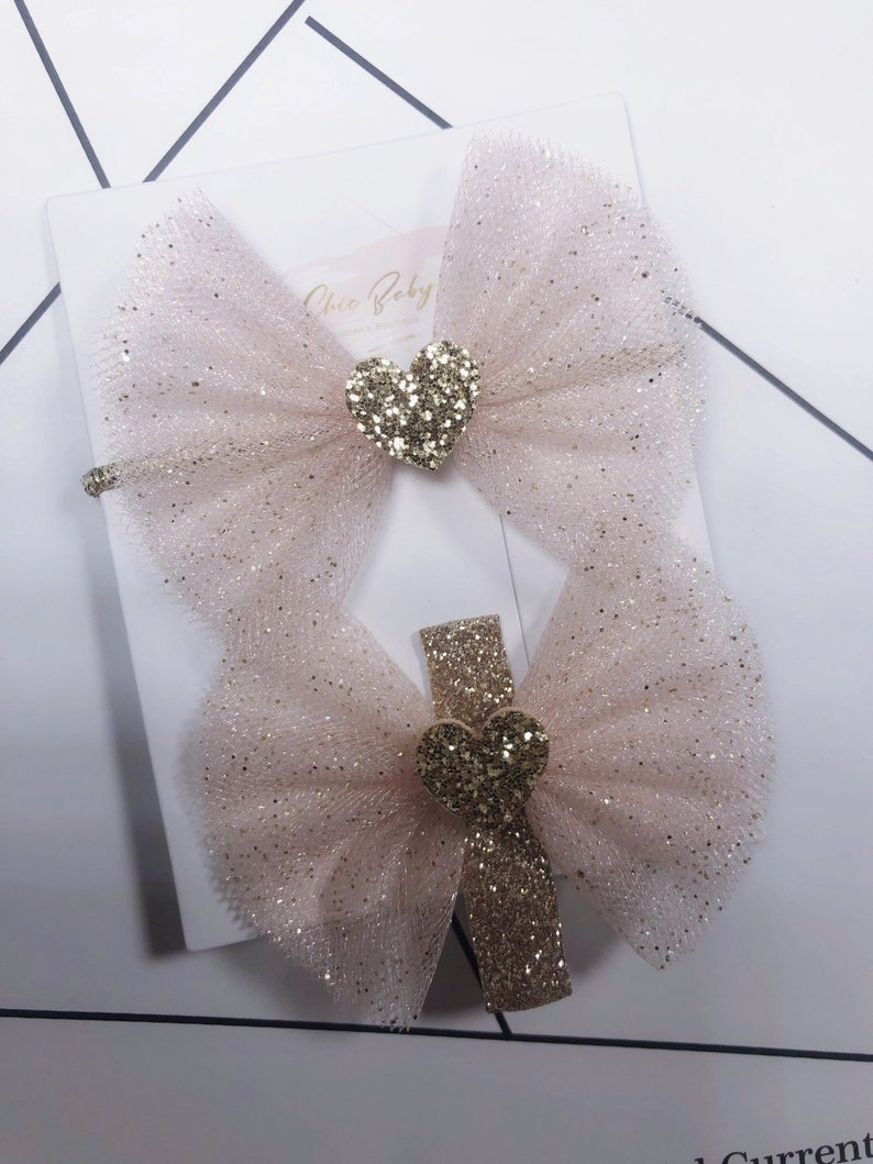 kids/' accessories ChicBaby girl/'s pink glitter love heart bow hair clips /& hair tie set girl/'s accessories girls bow hair clips gift se