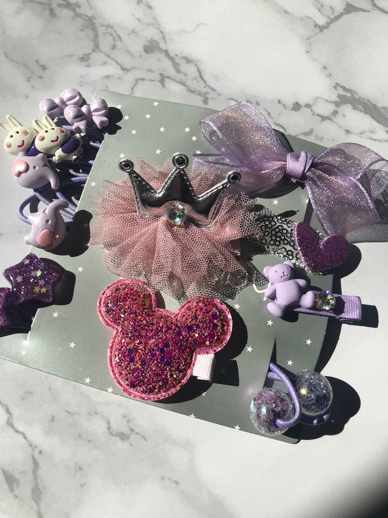 princess hair accessories collec girls accessories 15pieces kids accessories Girls light purple crown hair clips and hair ties gift set