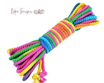 Bubblegum Rainbow Bamboo Twisted Shibari Bondage Rope - 6mm - 10 yards / 9 metres / 30 feet