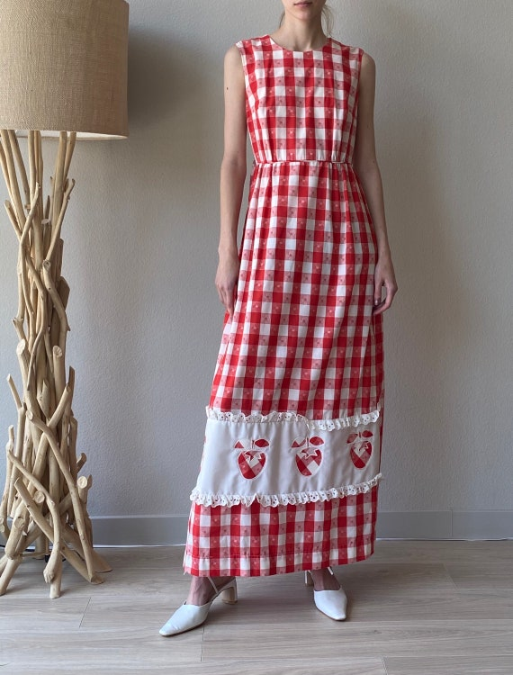 Vintage white and red cotton wrap strawberry dress