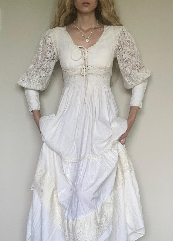 Vintage 70s Gunne Sax cotton prairie dress, weddi… - image 3