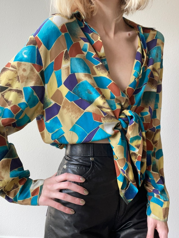 Vintage silk multicolored abstract print blouse, s