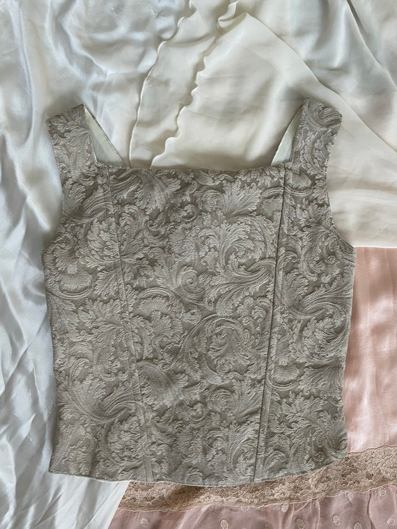 Vintage 90s tan corset top, size Small - image 4