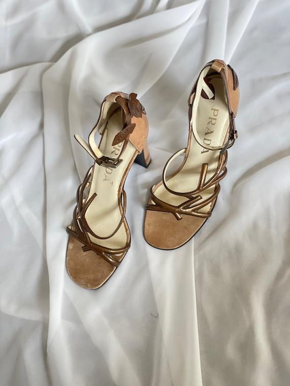 Vintage Prada 1990s bronze Vine Branch High Heel … - image 3