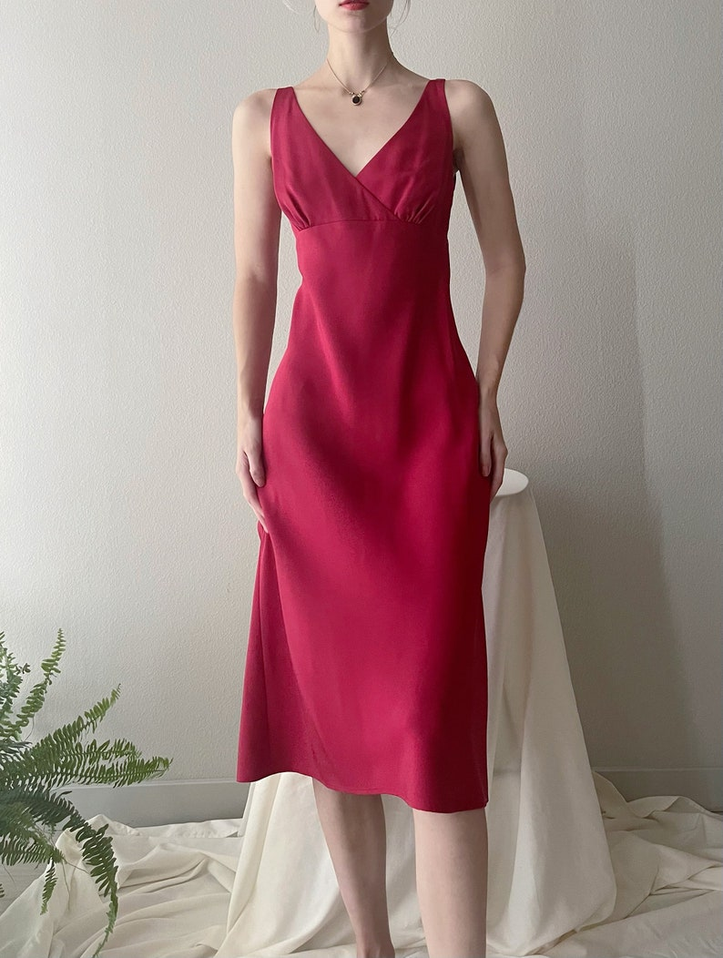 Vintage red silk gown dress size 8