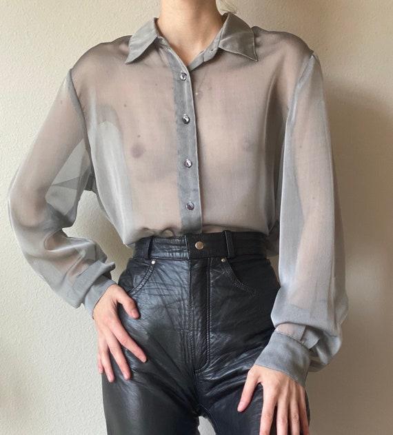 Vintage sheer gray organza blouse, wide sleeve, si