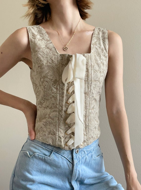 Vintage 90s tan corset top, size Small - image 3
