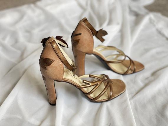 Vintage Prada 1990s bronze Vine Branch High Heel … - image 2