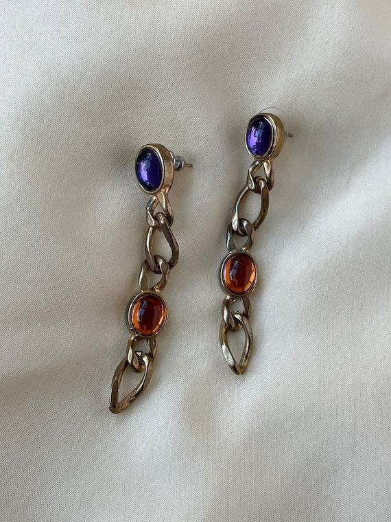 Vintage gold tone chain link and orange violet sto