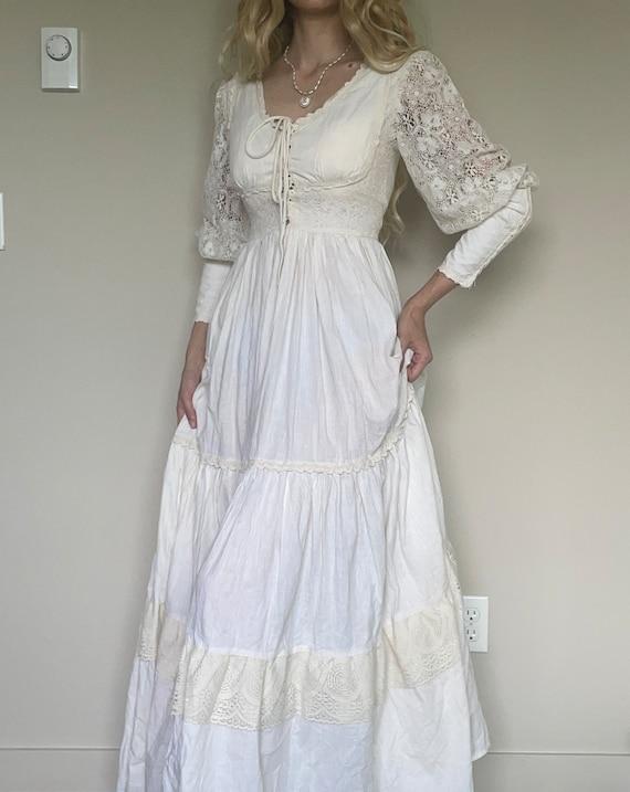 Vintage 70s Gunne Sax cotton prairie dress, weddi… - image 1
