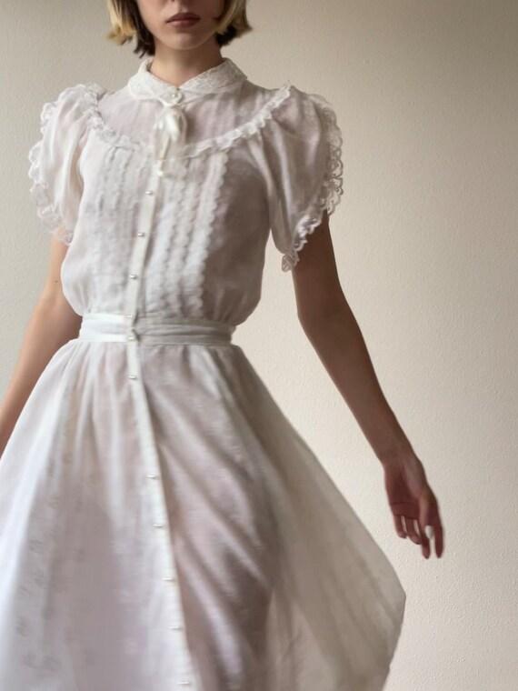 Vintage Gunne Sax  cotton gauze prairie midi dres… - image 5