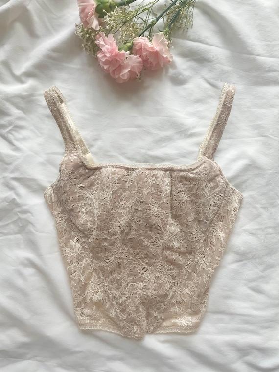 Vintage nude/beige lace bustier top, corset, size… - image 1