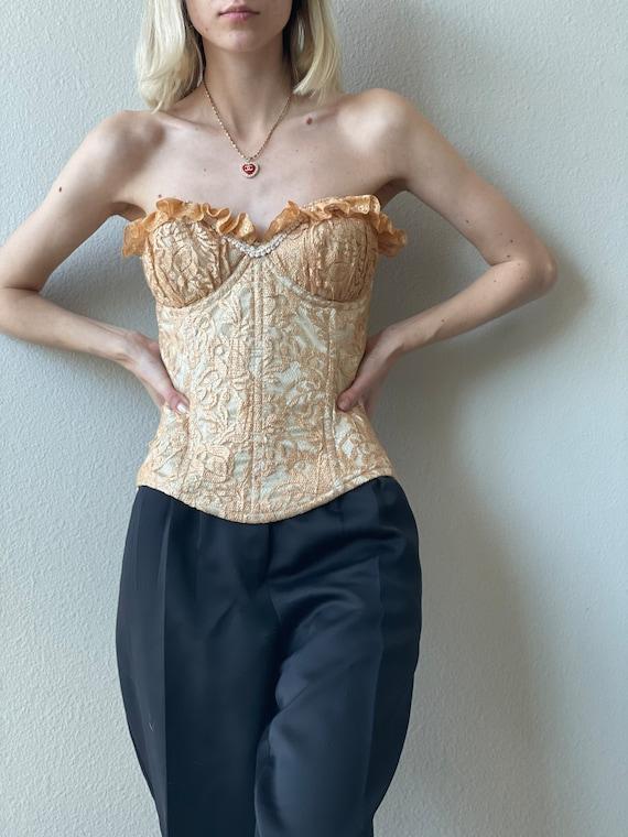 Vintage golden lace corset, ruffled cups, size L - image 2