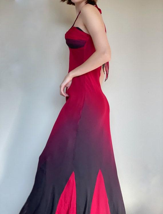 Vintage red black ombré silk mermaid dress, Hallo… - image 3