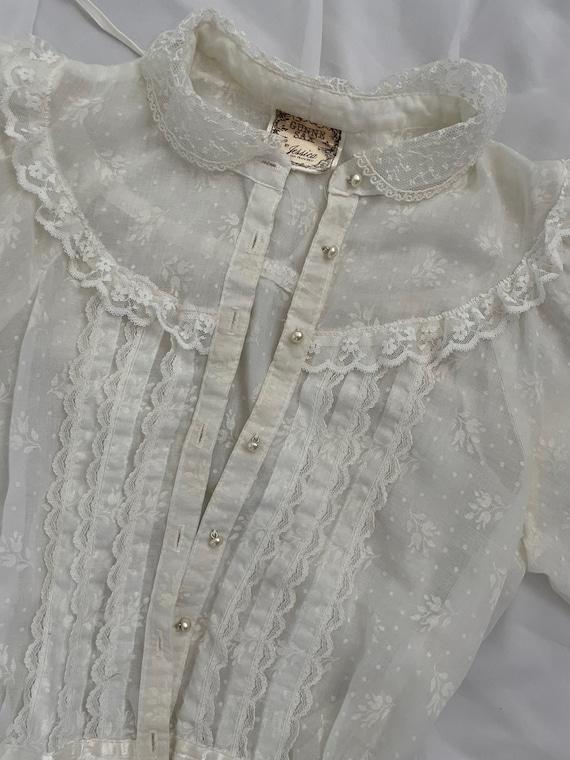 Vintage Gunne Sax  cotton gauze prairie midi dres… - image 6