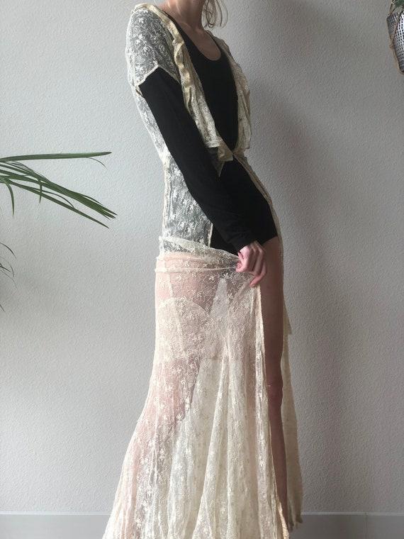 Antique 30s cream lace maxi duster, dress, xs s - image 4