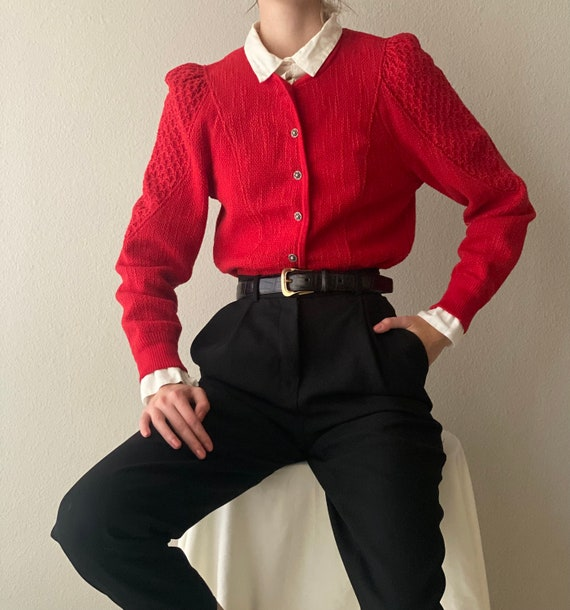 Vintage red wool cotton cardigan, puff sleeve, siz