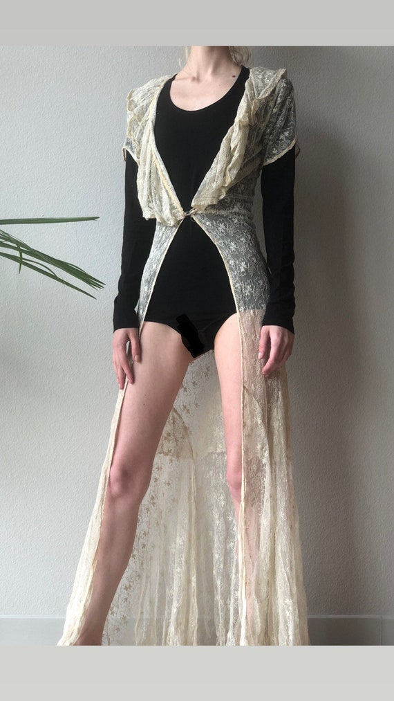 Antique 30s cream lace maxi duster, dress, xs s - image 3