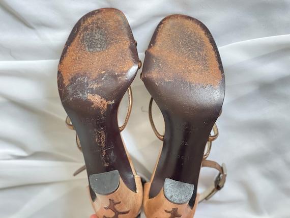 Vintage Prada 1990s bronze Vine Branch High Heel … - image 5