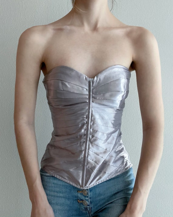 Vintage lavender pleated corset top, size M