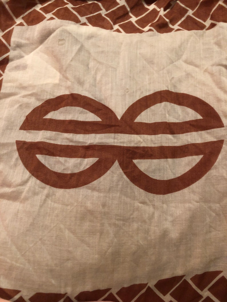 Vintage cotton brown and beige scarf signed