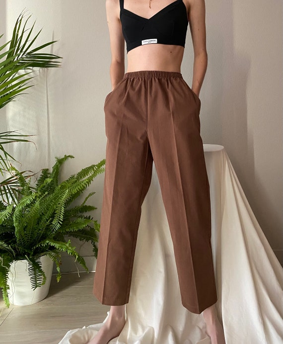 Vintage brown cotton easy pants, size 10P