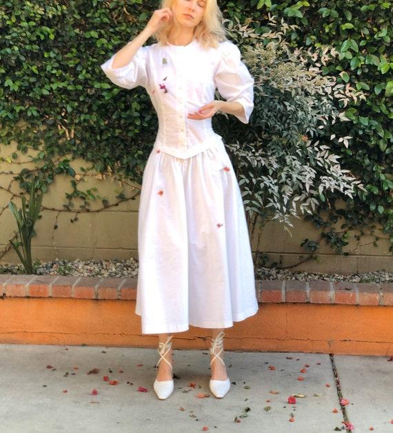 Vintage 80s puff sleeve cotton white dress, Large