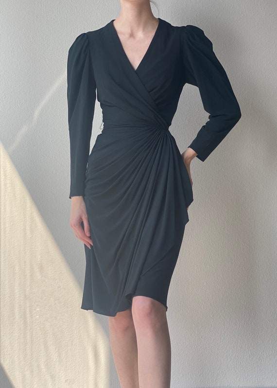 Vintage black wrap dress, puff sleeve small