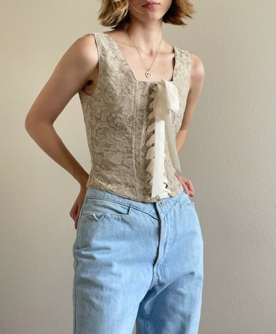 Vintage 90s tan corset top, size Small - image 2