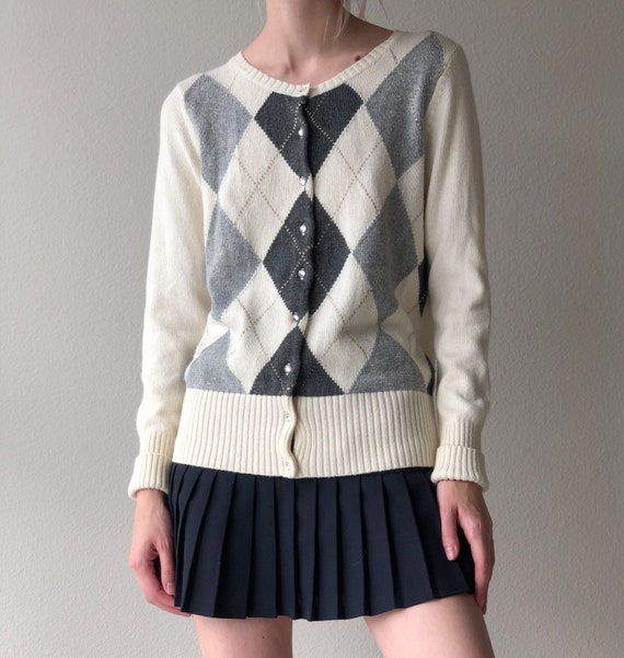 Vintage argyle pattern cardigan sweater, size smal