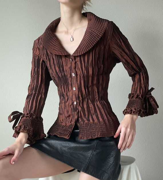 Vintage brown copper plisse blouse, oversized coll