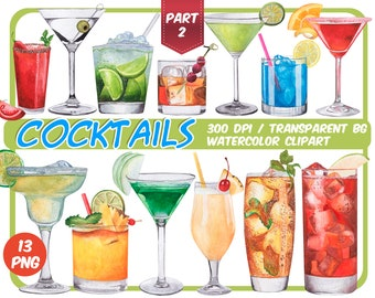 Watercolor tropical Cocktails clipart-signature cocktails-Alcoholic Drinks clipart- summer cocktail graphics - Summer Party-Instant download