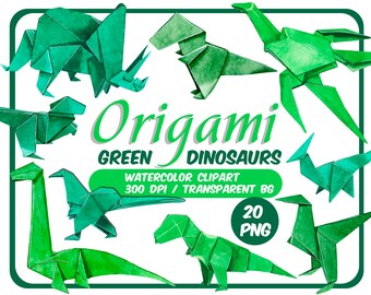 Watercolor Origami Dinosaurs clipart - 20 PNG Dinosaurs - Origami clip art - Watercolor origami - Instant download - Transparent Background
