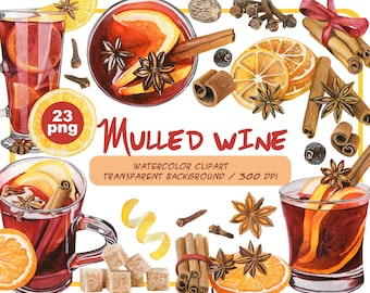 Watercolor mulled wine clipart-Winter Alcoholic drink clip art-Fall Hot Drink graphics-Christmas Hot Mug-mulled spices set-Instant download